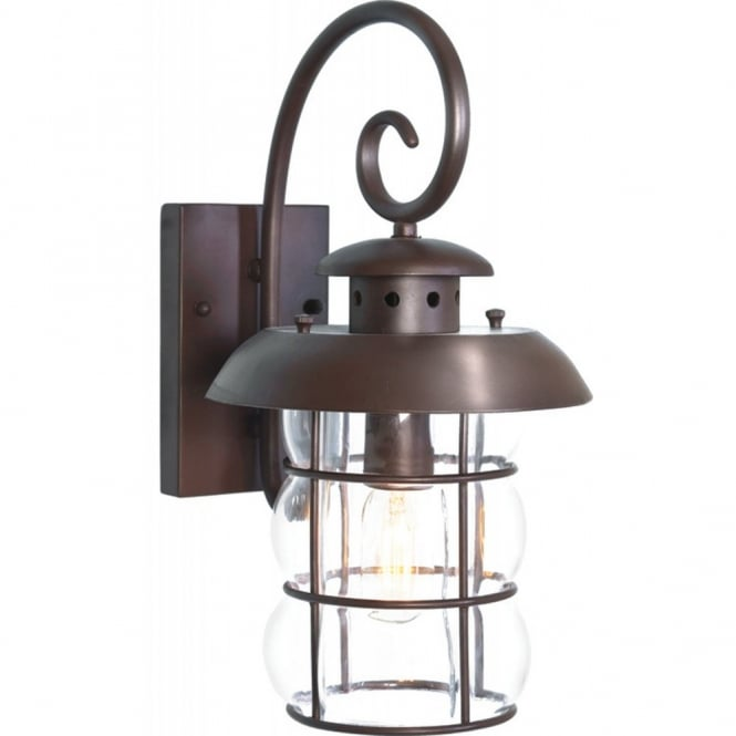 Traditional Wrought Iron Bronze Garden Wall Light, IP23, Porch Lantern