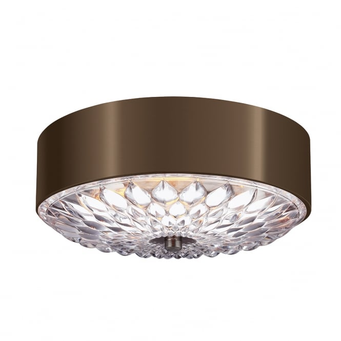 Feiss BOTANIC flush fit decorative ceiling light in dark brass with clear pressed glass (small)