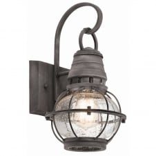 classic exterior wall lantern in weathered zinc with seeded glass
