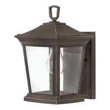 traditional outdoor wall lantern in bronze with clear glass