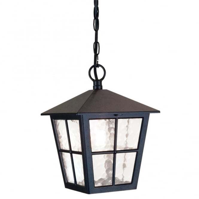 Elstead Lighting CANTERBURY traditional black outdoor or porch hanging lantern