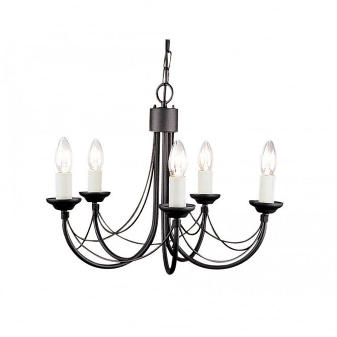 Elstead Lighting CARISBROOKE Gothic 5 light black ceiling light (dual mount)