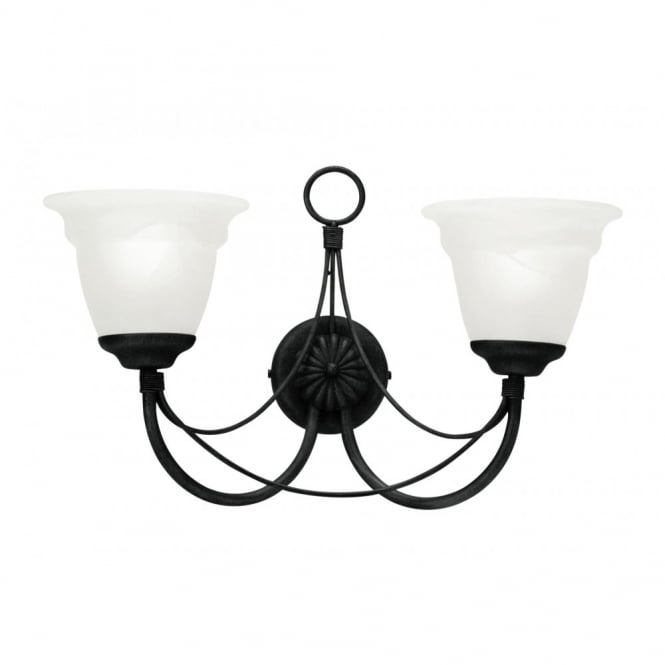 CARISBROOKE Gothic candelabra double wall light in black (shades excl)