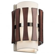 contemporary auburn stained wooden wall light