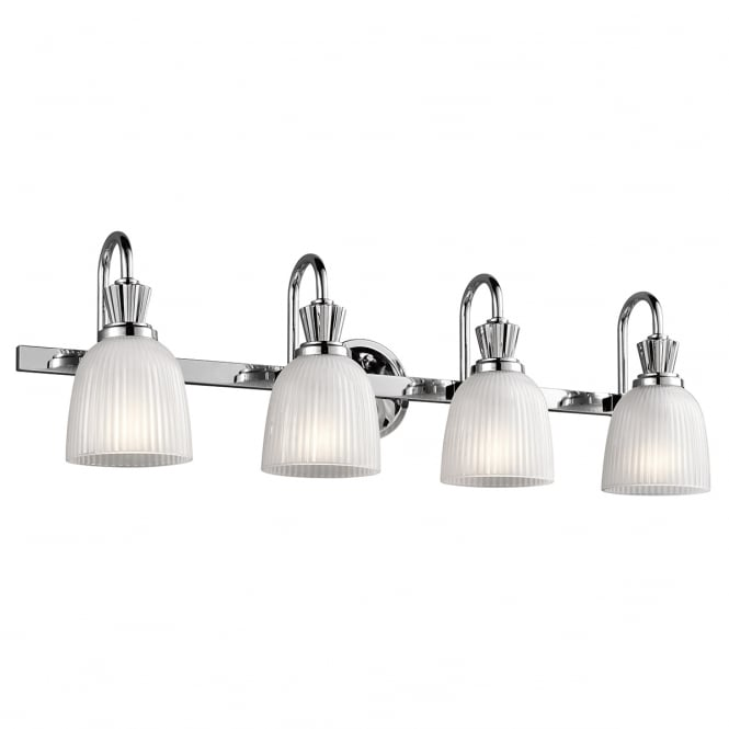 New York Lighting Collection CORA polished chrome 4 light bathroom wall light with ribbed glass shades