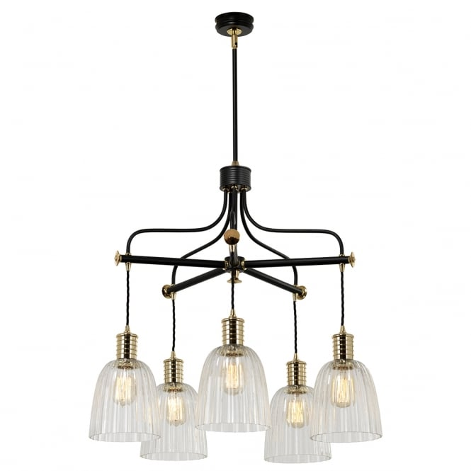 DOUILLE black and brass 5 light chandelier (excludes shades)