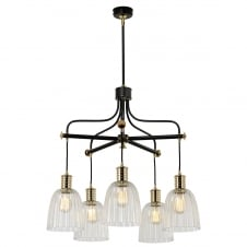 industrial 5 light chandelier in a black and brass finish