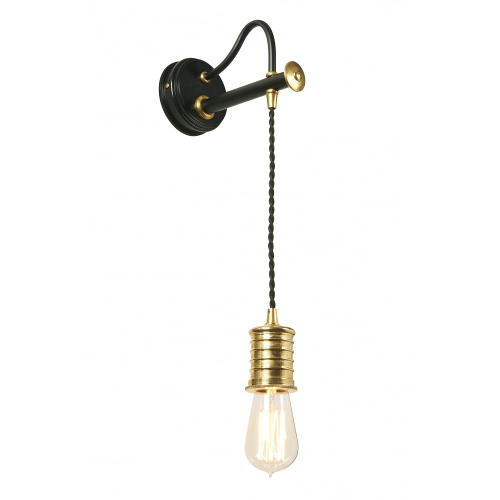 Period Style Hanging Wall Light In Brass And Black With