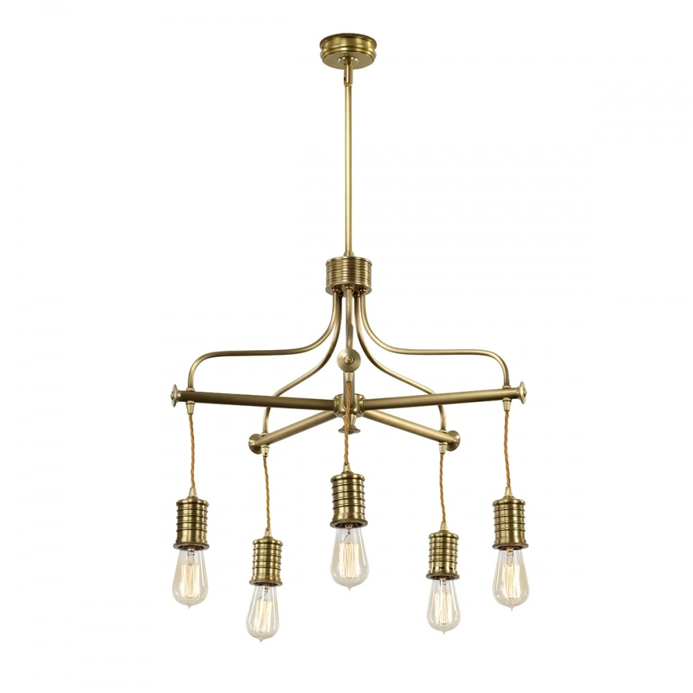Vintage Industrial Style 5 Light Chandelier In An Aged