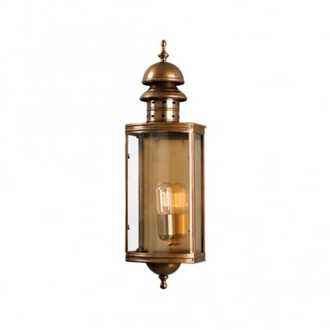 Traditional Antique Brass Garden Wall Lantern For Period