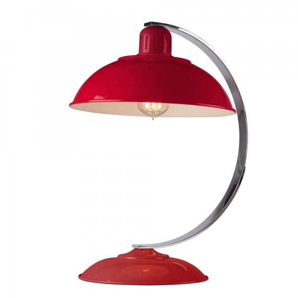 Retro Mid-Century Desk Lamp In A Traffic Red Enamel Finish