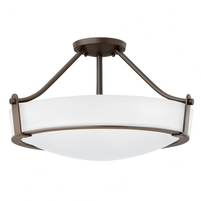 Hinkley Lighting HATHAWAY 4 light semi flush ceiling light in old bronze with opal glass