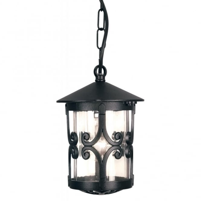 Elstead Lighting HEREFORD traditional black hanging porch lantern