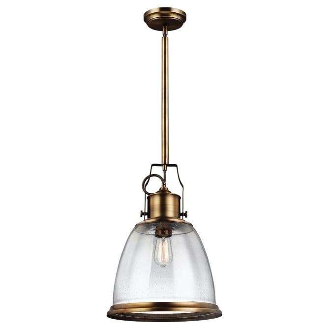 Feiss HOBSON industrial aged brass pendant with seeded glass (large)