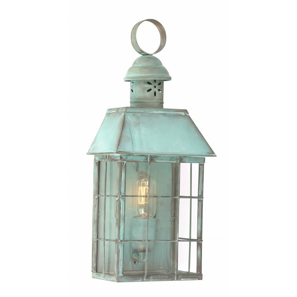 Traditional Garden Wall Lights : Classic Old English Verdigris Flush Fitting Outdoor Garden Wall Lantern