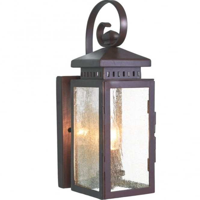 Garden wall lantern ip23 in wrought iron with old bronze finish hythe outdoor wrought iron garden wall lantern aloadofball
