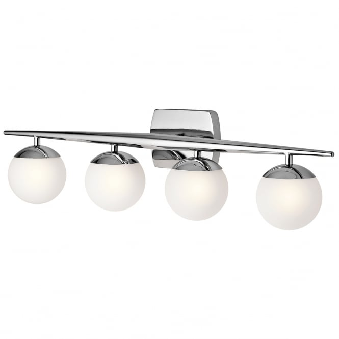 New York Lighting Collection JASPER chrome 4 light bathroom wall light with opal glass globe shades