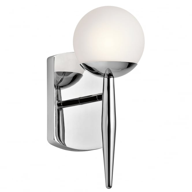 New York Lighting Collection JASPER single modern chrome bathroom wall light with opal glass globe shade