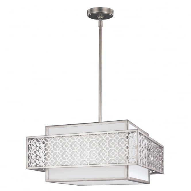 Feiss KENNEY 3 light mid century modern ceiling pendant in sunrise silver