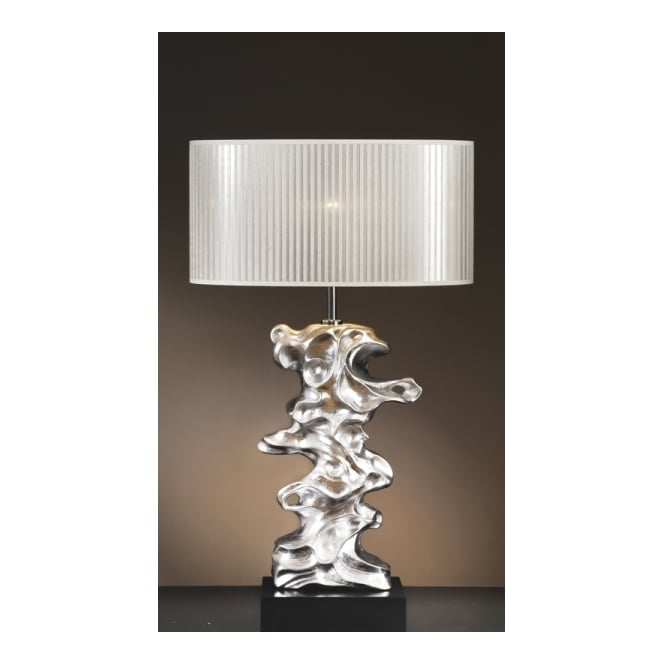 Silver leaf sculpture table lamp with oval shade libero silver leaf contemporary sculpture table lamp aloadofball Images