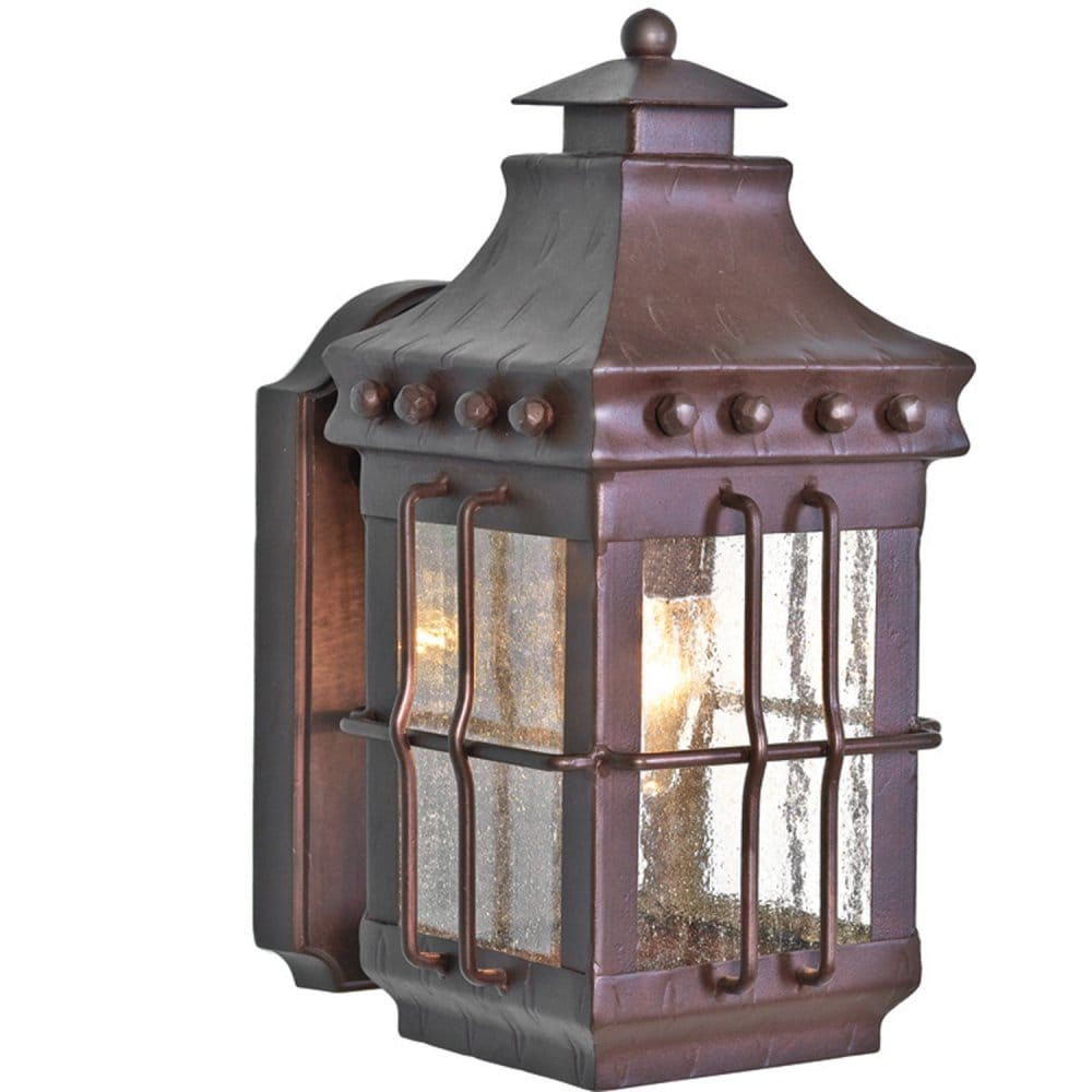 Traditional Wrought Iron Bronze Outdoor Wall Lantern, Leaded Glass Effect
