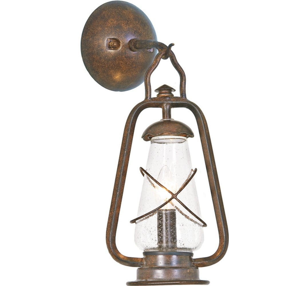 Traditional Garden Wall Lights : Miners Outdoor Garden Wall Lantern, Wrought Iron with Bronze Finish