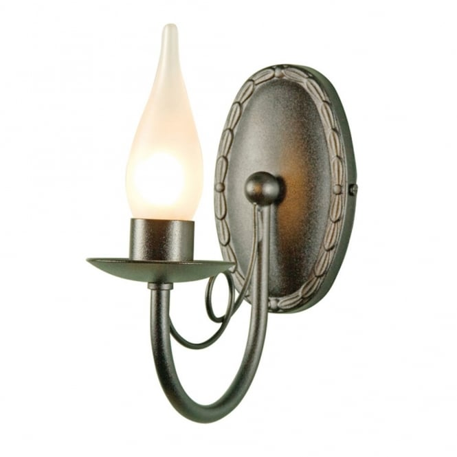 Bathroom Wall Sconces Black : Gothic Bathroom Wall Light, Black Steel with Candle LIke Bulb Cover