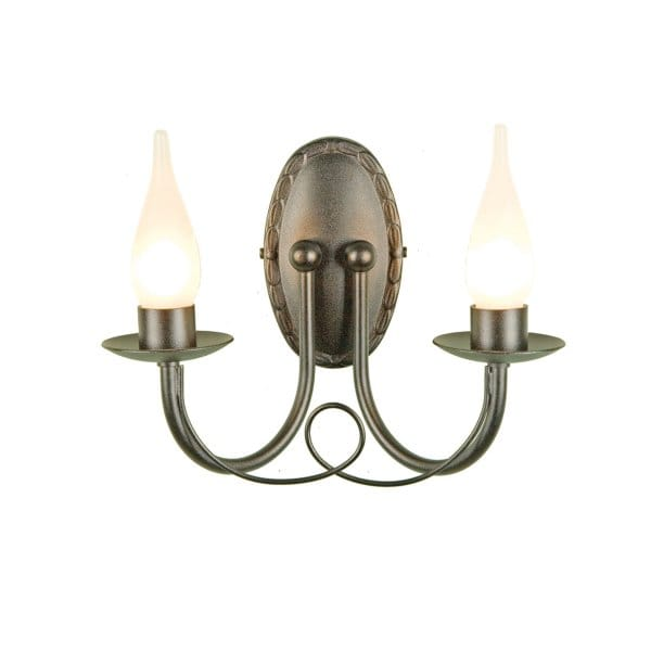Gothic bathroom wall light in black finish with 2 candle for Traditional bathroom wall lights