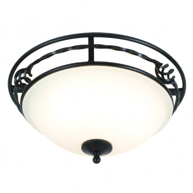 Elstead Lighting PEMBROKE classic period flush ceiling light in black with opal diffuser