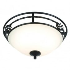 PEMBROKE classic period flush ceiling light in black with opal diffuser