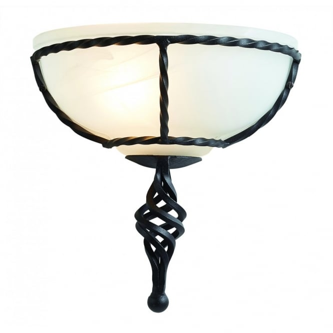 Elstead Lighting PEMBROKE decorative hand forged iron wall uplighter in black