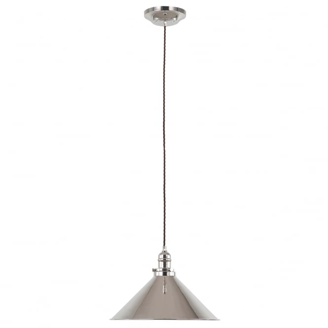 PROVENCE single industrial style ceiling pendant in polished nickel