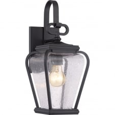 traditional black exterior wall lantern with clear seeded glass