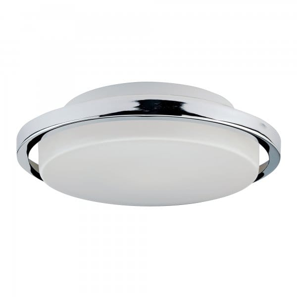 Contemporary Flush Bathroom Ceiling Light With Chrome Ring Surround