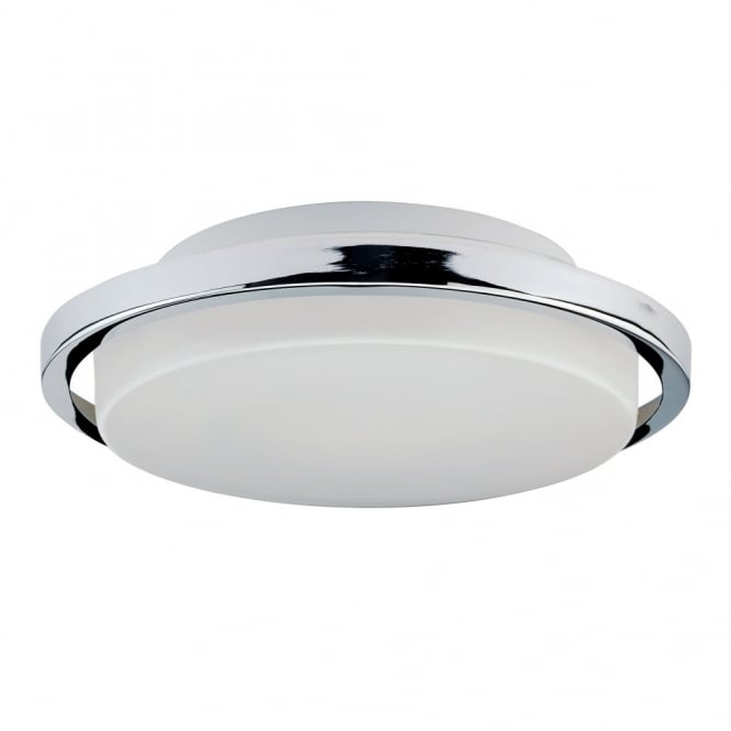 Contemporary flush bathroom ceiling light with chrome ring surround bathroom ceiling light with opal glass shade and polished chrome ring surround aloadofball Images
