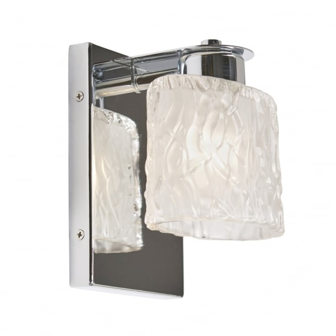 Quoizel SEAVIEW polished chrome bathroom wall light with glass shade