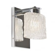 contemporary chrome bathroom wall light with cut glass shade