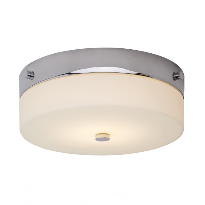 TAMAR minimalist flush bathroom ceiling light in chrome with opal glass (small)