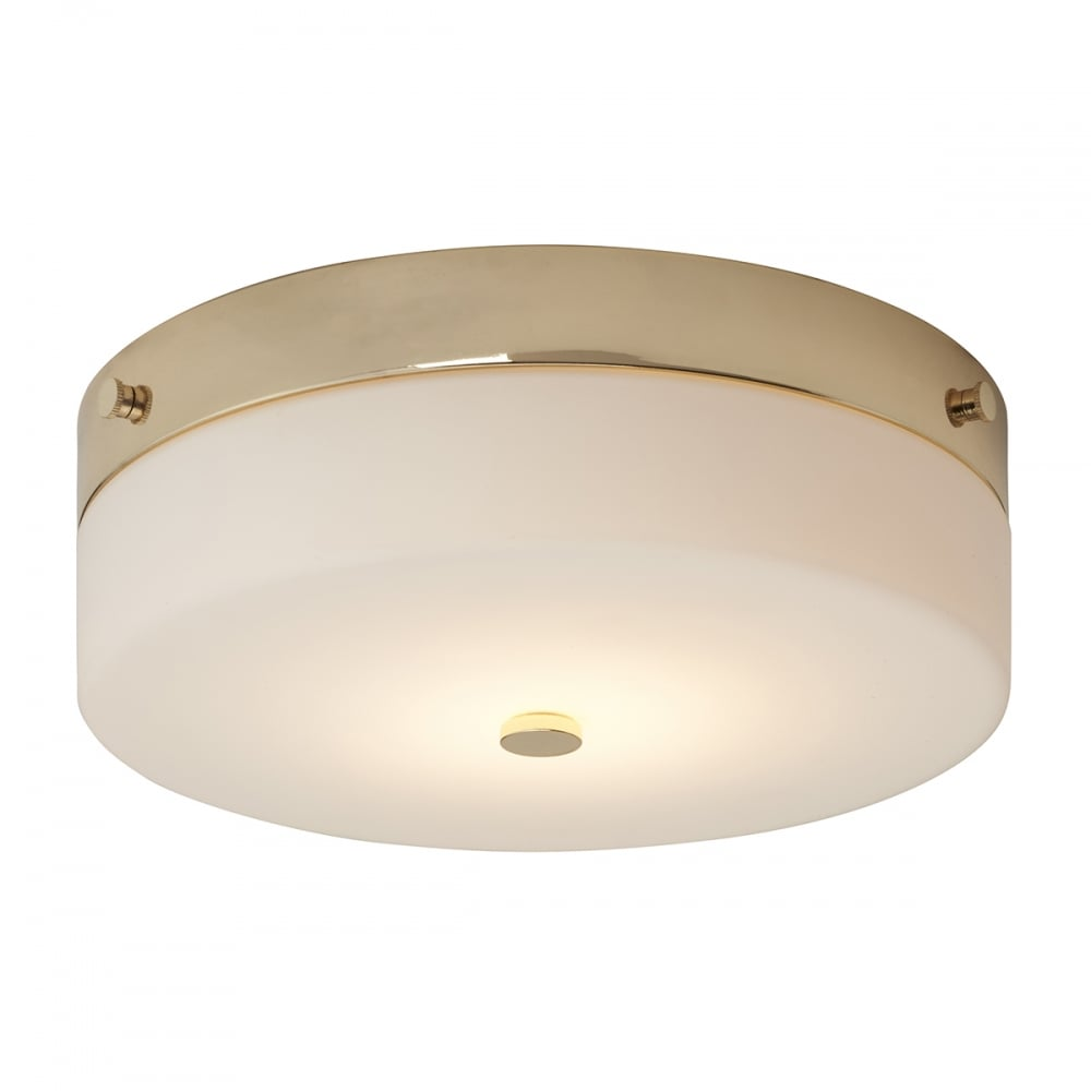 Contemporary Flush Bathroom Ceiling Light In Gold With Opal Glass