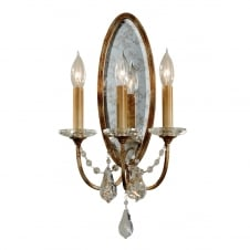 traditional 3 light wall light in bronze with glass droplets