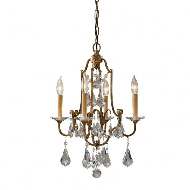 Feiss VALENTINA 4 light tiered chandelier in bronze with glass droplets