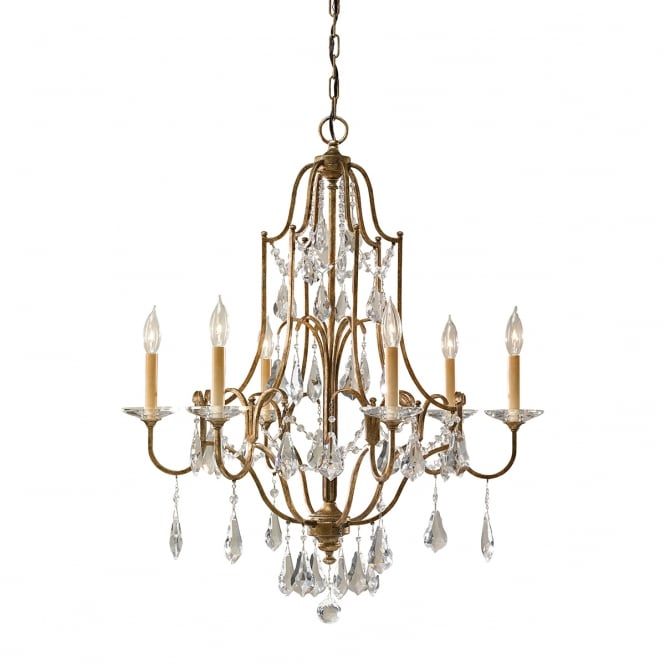 Feiss VALENTINA 6 light tiered chandelier in bronze with glass droplets