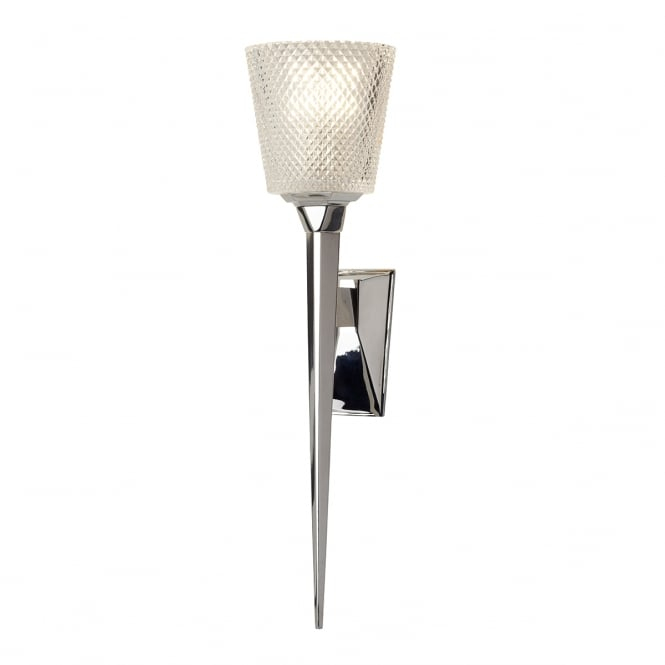 VERITY single bathroom torchiere wall light in chrome with cut glass shade