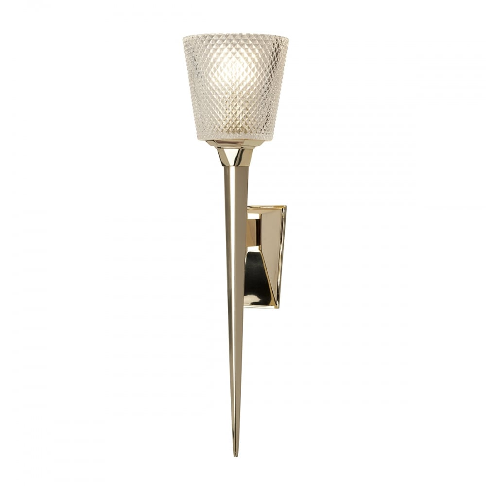 Contemporary torchiere style gold bathroom wall light with for Gold bathroom wall lights