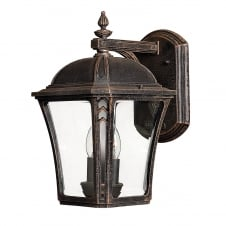Period style exterior wall lantern in distressed mocha