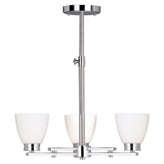 Adjustable height bathroom ceiling light chrome with ribbed opal bathroom chandelier in chrome with opal white glass shades mozeypictures Choice Image
