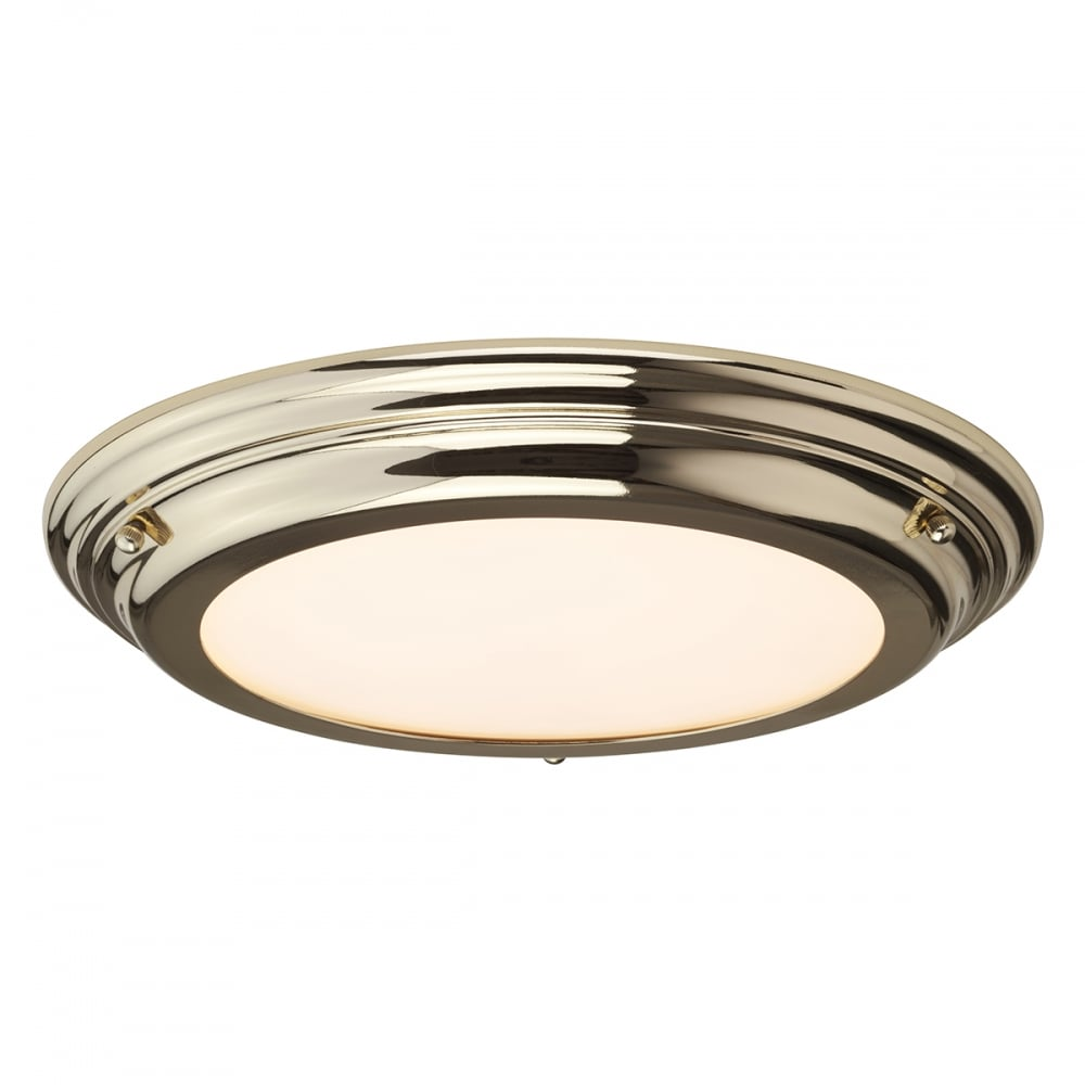 decorative led flush bathroom ceiling light in polished brass