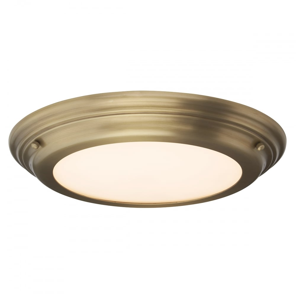 Traditional Aged Brass Flush Bathroom Ceiling Light