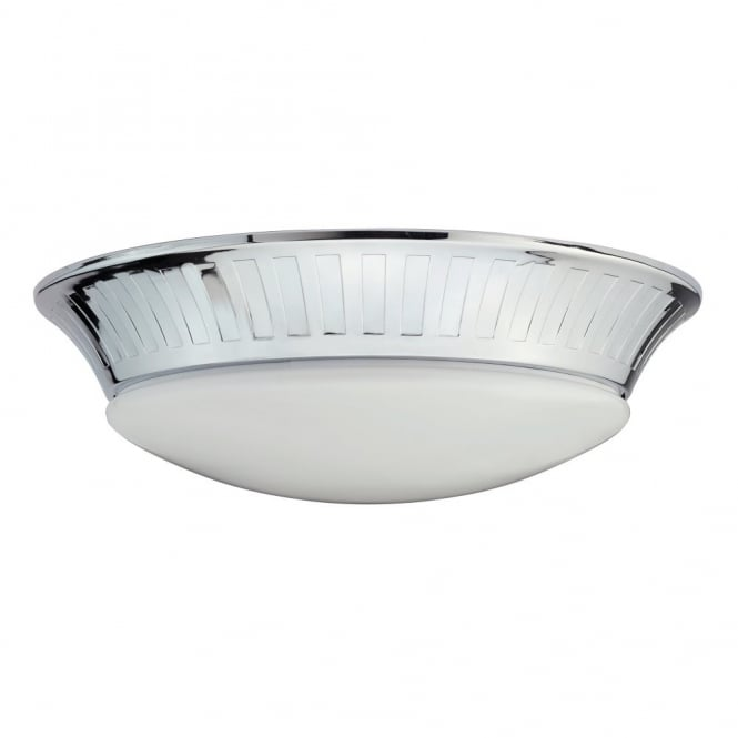 Elstead Lighting WHITBY flush fit bathroom ceiling light with opal glass shade & chrome tapered surround