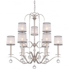 decorative 9 light chandelier in imperial silver with organza shades